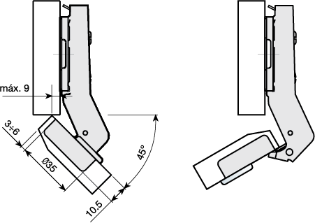 Mesuco 131 angle hinge 45 degree technical diagram