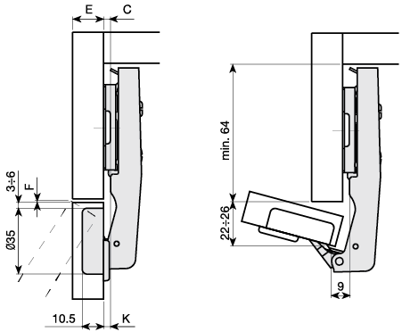 Mesuco 131 blind corner hinge technical diagram