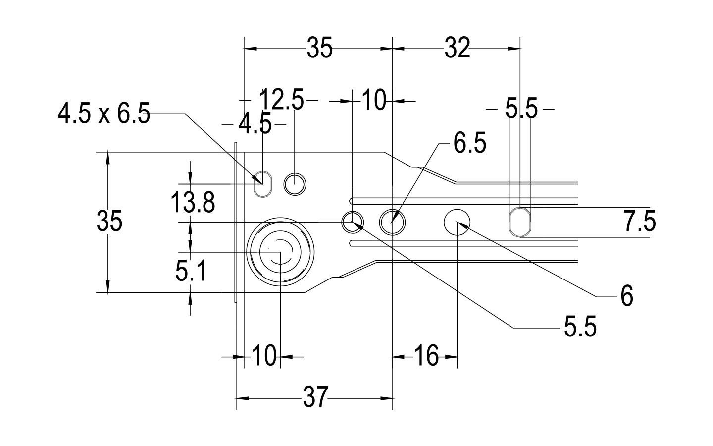 Drawer slide 1.0 mm thickness diagram